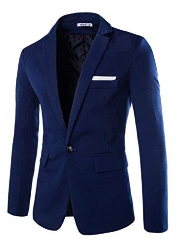 Business Manica Fit Dunkelblau Leisure Ragazzi Button Uomo Laisla Elegante Fashion Suit Risvolto Da Lunga Jacket 1 Blazer Classiche Slim qx0XpP