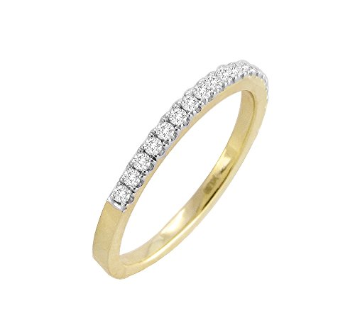 Round Diamond 14k Yellow Solid Gold 0.25ct Half Eternity Wedding Band Ring