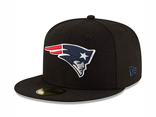 NFL New England Patriots Black and Team Color 59Fifty Fitted Cap, Black/Black, 7 3/8 (Nfl Black 59fifty Hat)