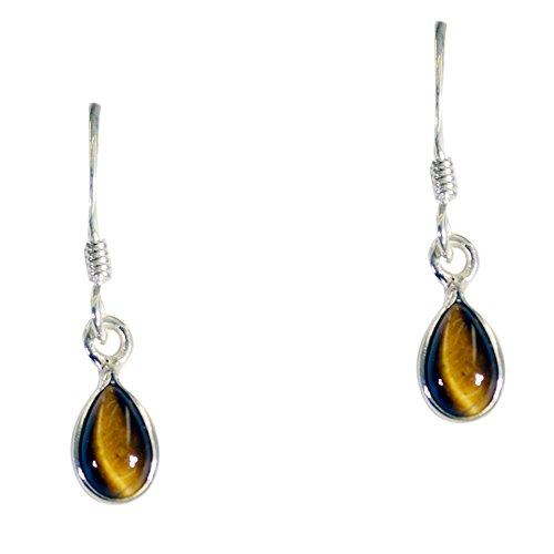 Real Tiger Eye Drop Earring For Women 925 Sterling Fashion Jewelry Shape Pear Chakra Healing Astrological