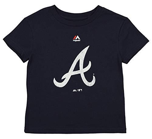 Outerstuff MLB Little Boy's Kid's Atlanta Braves Short Sleeve Distressed Team Logo Tee, Navy Small 4
