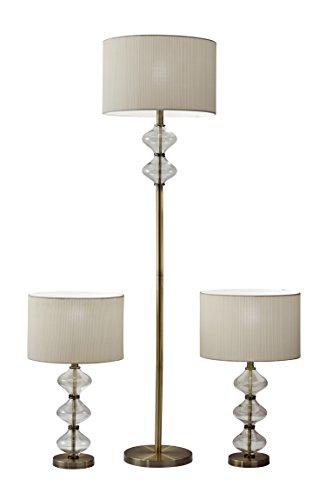 Adesso Set Bedroom Set (Adesso 1593-21 Eugene Bonus Pack Floor, Office, Waiting Room, Dorm, Cool, Led Lamp, Antique Brass)