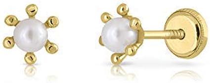 Pendientes oro 18k, modelo pistilos con perla de 3 mm cultivada y cierre de rosca de gran firmeza y fuerte. Medida de la joya 5 milímetros.