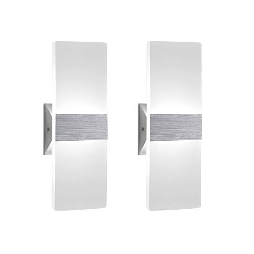 (Modern Wall Sconce 12W, Set of 2 LED Wall Lamp Cool White, Acrylic Material Wall Mounted Wall Lights)