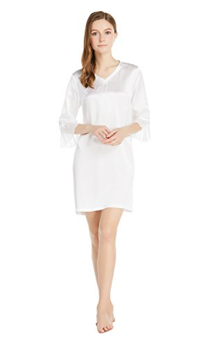 LILYSILK Womens Silk Nightgown Pure Real Mulberry 22 momme Casual with Bowknot Half Sleeve Mesh Hem Ladies Nightdress
