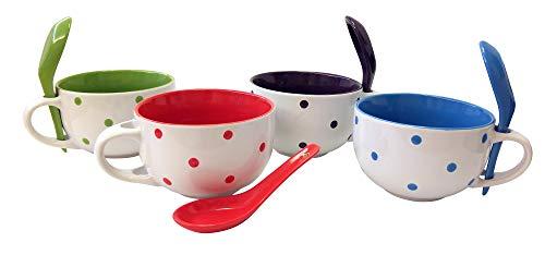 8 Piece Ceramic Deluxe 16 oz. Soup Mug Set - Dots ()
