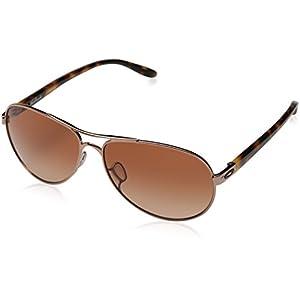 Oakley Women's Feedback Sunglasses, Rose Gold, Vr50 Brown Gradient