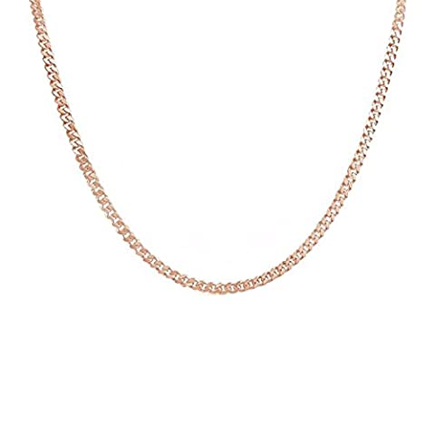 3MM Silver Gold Rosegold Plated Flat Cuban Link Curb Chain Necklace Stainless Steel Vintage Punk Necklace Jewelry for Men Women K COOL (Rose Gold - Flat Curb Link Chain