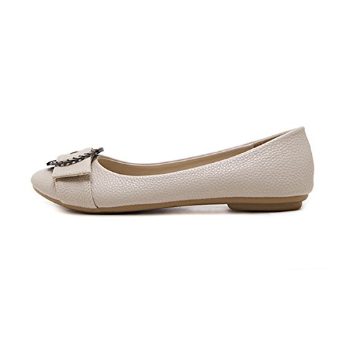Shoes Leather Casual Beige Shoes Shoes Handmade Female On Slip Shoes Styling Kenavinca Flat Women Women Ballet Flats Car Flat qwfUxnOvA