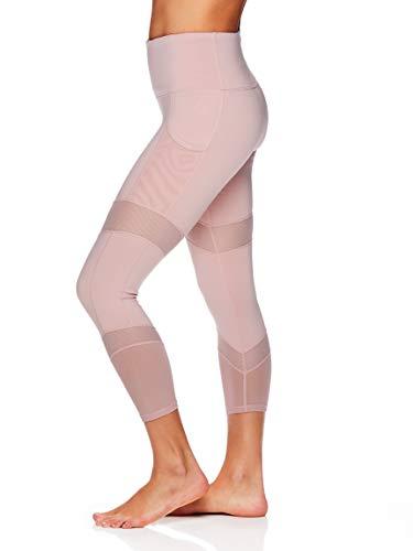 Gaiam Women's High Rise Waist Yoga Pants - Performance Spandex Compression Leggings w/Phone Pocket - Pale Mauve, Medium