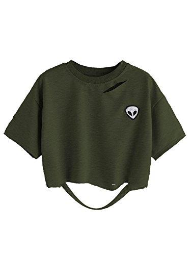 (Choies Women's Ripped Crop Top Navy Alien Patch Short Sleeve Crop T-Shirt XL )