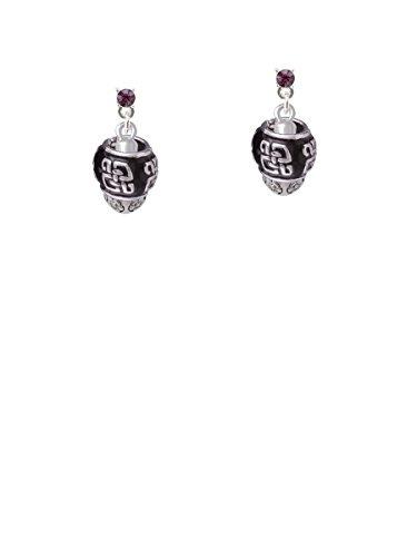 Chinese Pattern on Black - Goldtone Spinners Purple Crystal Post (Asian Purple Earrings)