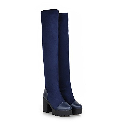 A&N Ladies Chunky Heels Platform Imitated Suede Boots Blue 1iUv1gFNBK