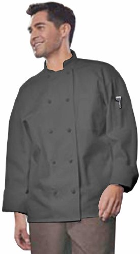 Uncommon Threads Unisex-Adults Plus Size Classic Knot With Mesh Chef Coat, Black, 4XL by Uncommon Threads