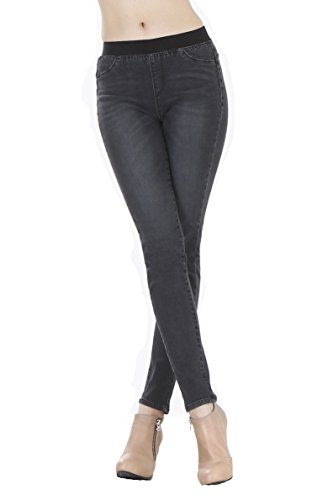 WeHeart Mascara Women Skinny Jeans Jeggings Pants Elastic Waist Black-Jean Medium by WeHeart (Image #4)