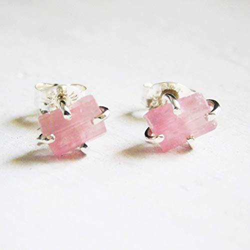 Light Pink Raw Tourmaline Crystal Earrings, Fine Silver 999 Stud Earrings, Pink Tourmaline Stud Earrings