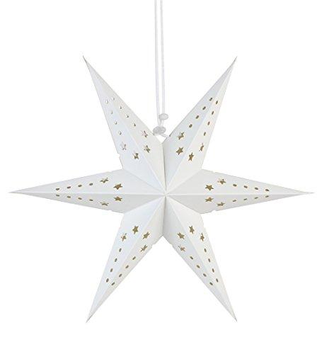 SUNBEAUTY Pack of 3 White Six Angle Paper Star Lanterns Window Decor Holiday Crafts Christmas Ornaments Tree Decor (White) (Christmas Lantern Star)