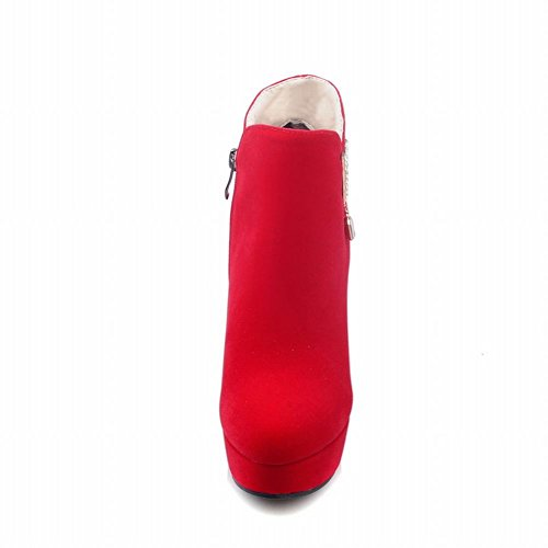 Faux Boots Ankle Dress Women's Red Platform Latasa High Suede Heels Bp6U55wq