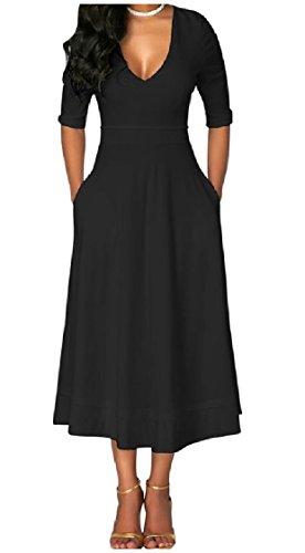 Sleeve Black Women 1 Princess Neck Coolred Dress Dresses Pockets 2 Zipper V Swing 7SXqWFx4