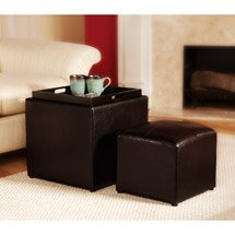 Park Avenue Single Ottoman with Stool Espresso by Convenience Concepts