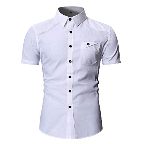 JJLIKER Men's Standard-Fit Short-Sleeve Plain Shirts Button Down Casual Pocket Shirt Tops Slim-Fit Dress Shirt Tees White