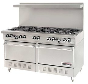 Garland G60-10RR 60'' Gas Range W/ 10 Open Burners and Two Standard Ovens by Garland