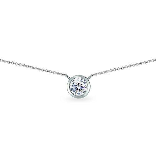 Sterling Silver 6mm Round Bezel-Set Dainty Choker Necklace Made with Swarovski Zirconia (Sterling Silver Bezel Necklace)