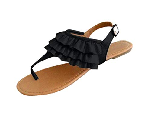 Flat Sandals for Women Comfort Ruffle Thong Sandal Casual Ankle Strap Flip Flops Sandals Bohemian Beach Shoes Black]()