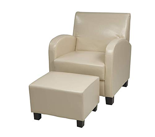 Оsp Dеsigns Metro Club Chair with Ottoman in Eco Leather, Cream Eco Leather Club Chair