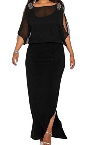 Confortables Femmes Découpées Longues Taille Plus Occasionnels Robes Étape Tunique Solide Noir