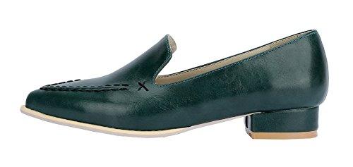 De Sólido Puntera Sin Mujeres Cerrada Mini Zapatos Aalardom Pu Verdeoscuro Tacón Cordones n4g6WBaqva