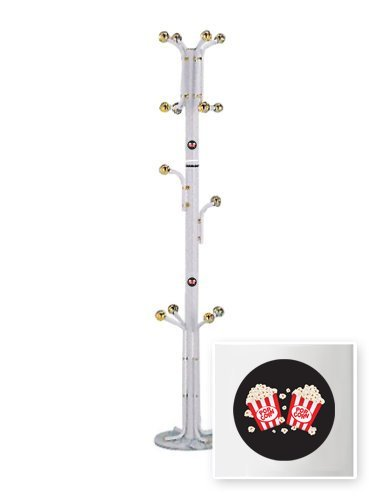 New White Finish Metal Hat Rack with Movie Popcorn theme! by The Furniture Cove