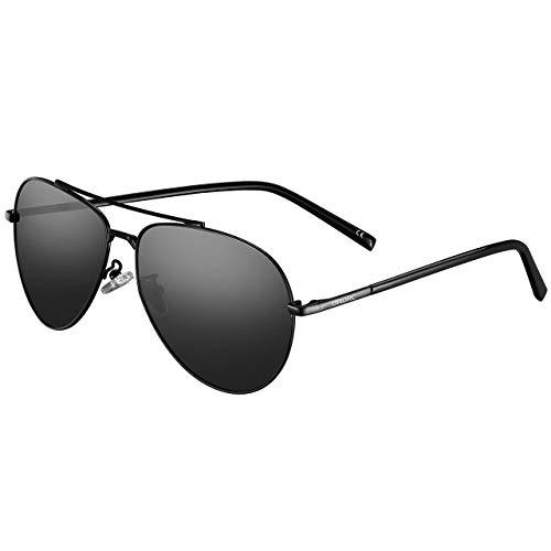 Polarized Sunglasses,OMORC Premium Military Style Classic Aviator Sunglasses, Polarized, 100% UV protection-Full 100% 5-Year ()