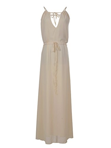 Anna-Kaci Womens Chiffon Ivory Cream Greek Goddess Toga Summer Beach Long Maxi Dress, White, X-Large -