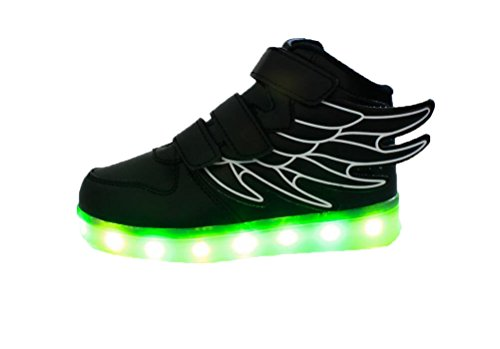 Skidproof Charging Ake Shoes Zapatos Black Led Usb Lampeggiante Sport Light Wing luminose Children Sneakers PkXuZi
