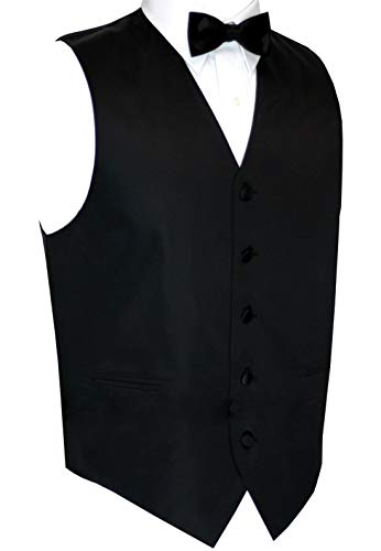 - Now in Long Length Italian Design, Men's Tuxedo Vest, Bow-Tie & Hankie Set in Black - S/Long