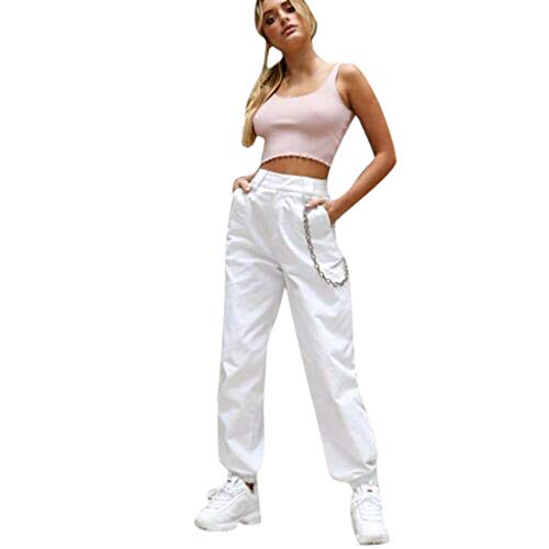 406c7917 JOFOW Military Pants Womens Cargo Solid with Metal Chain Cool Loose Casual  High Waist Long Street Straight Leg Crop Trousers (2XL,Cream -1)