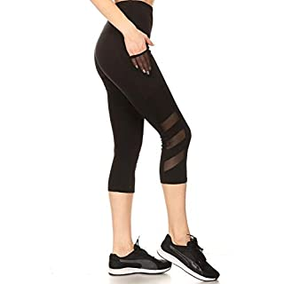 ShoSho Womens High Waist Sports Capris Yoga Tummy Control Leggings Activewear Stretch Bottoms Cropped Athletic Pants with Mesh Panels & Phone Pockets Black Small
