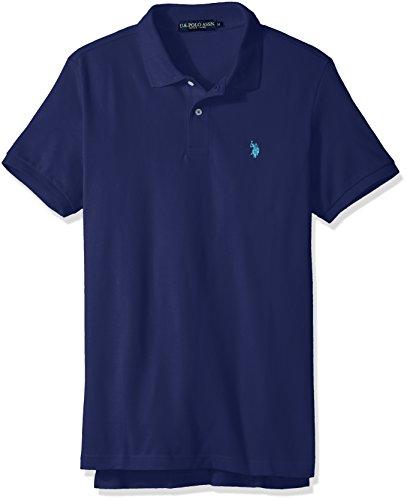 Ribbed Polo Shirt (U.S. Polo Assn. Men's Classic Polo Shirt, Dodger Blue, M)