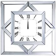 Benjara Benzara Modern Square Shaped Mirrored Wall Clock