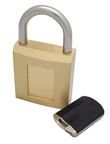 Magnetic Padlock- Weatherproof, Rustproof, Pick-Resistant, Vandal Resistant, 1 Hand Magnetic Keyed Brass-Stainless Steel Padlock by Capitol