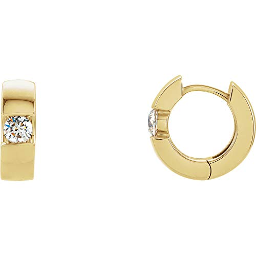Women's Hinged Diamond Solitaire Hoop Earrings in 14k Yellow Gold -1/2ctw, I1 clarity, G-H color ()