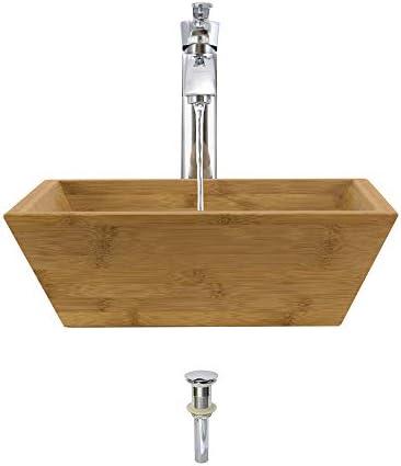 891 Bamboo Vessel Sink Chrome Bathroom Ensemble with 726 Vessel Faucet Bundle – 3 Items Sink, Faucet, and Pop Up Drain