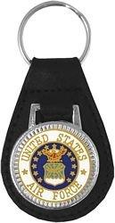 US Air Force Service Emblem Leather Key Fob / Key Chain