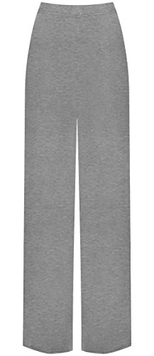WearAll Plus Size Women's Palazzo Trousers - Light Grey - US 12-14 (UK 16-18)