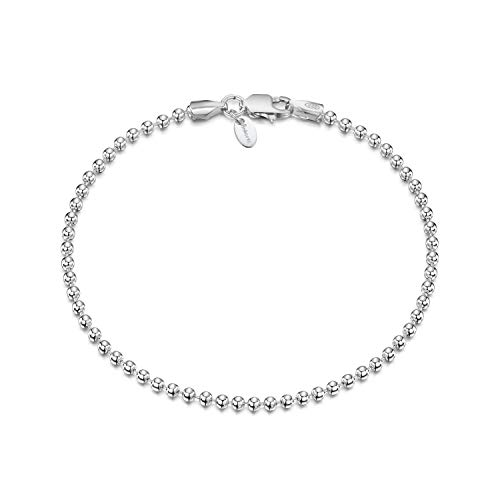 "Amberta 925 Sterling Silver 2 mm Ball Chain Bracelet Length 7.5"" inch / 19 cm (7.5)"