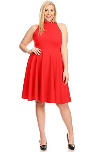 Womens Short Summer Flare Dresses Fit Size Red Made Sleeve in Plus USA Neck Mock rBFnEar