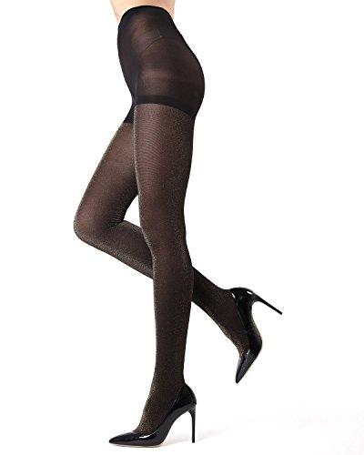 MeMoi Stockholm Glitter Tights - Beautiful Glam Legwear for Women Black/Gold MO 357 Medium/Large -