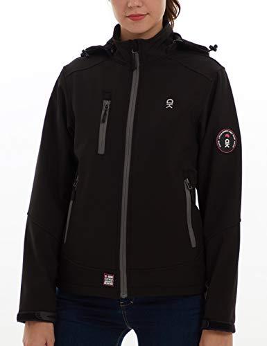 (TOPSUN Womens Softshell Fleece Lined Jackets with Detachable Hooded Windproof Waterproof Black Size XS )