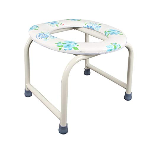 Lattice Bedside Commodes Toilet Stool Commode Seat, Portable Bath Chair with Padded Cushion, Medical Shower Seat for Elder Disabled Pregnant Women, White